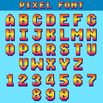 Pixel 8 bit letters and numbers vector game font