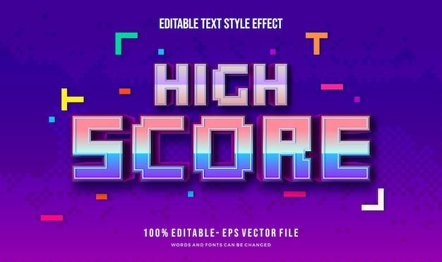 Стиль текста темы pixel 8bit. эффект стиля редактируемого текста вектор.