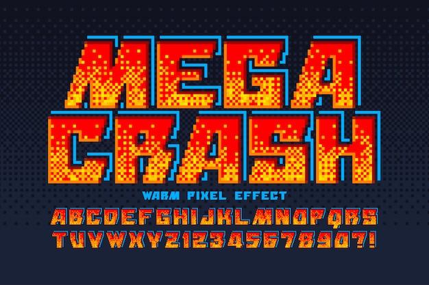 Pixel alphabet design, stylized like in 8-bit games.