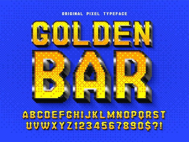 Pixel alphabet design stylized like in 8bit games high contrast retrofuturistic easy swatch color control