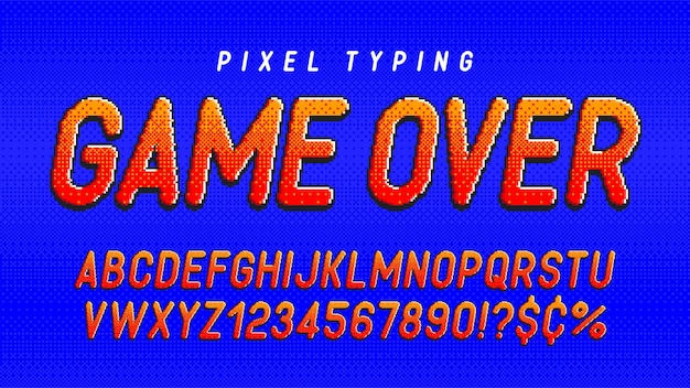 Pixel alphabet design stylized like in 8bit games high contrast and sharp retrofuturistic easy swatch color control resize effect