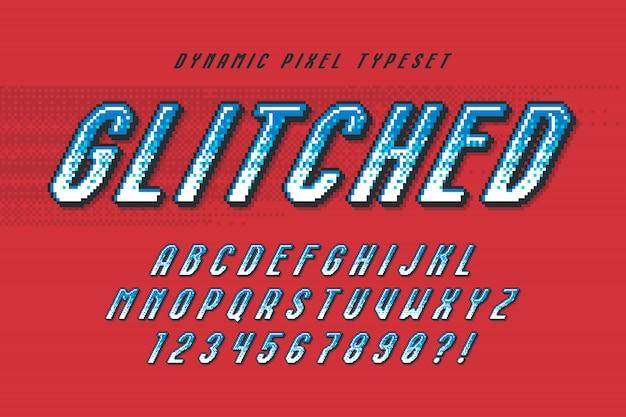 Дизайн пиксельного алфавита, стилизованный под 8-битные игры.
