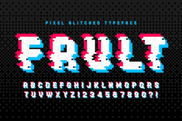8ビットゲームのように様式化されたピクセルアルファベットデザイン。