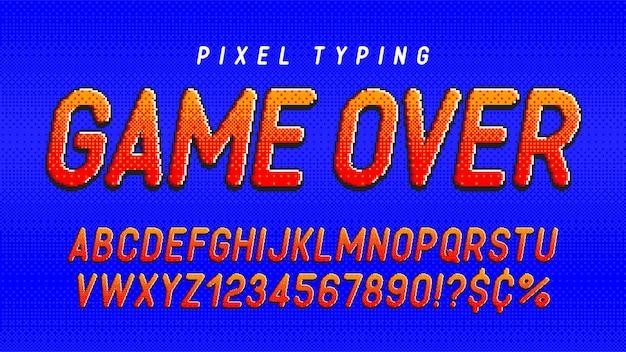 Дизайн пиксельного алфавита, стилизованный под 8-битные игры высококонтрастный и четкий ретрофутуристический простое управление цветом образцы эффект изменения размера