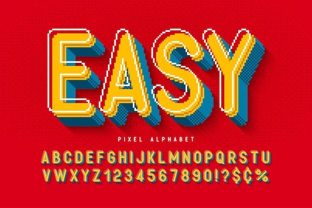 Дизайн пиксельного алфавита, стилизованный под 8-битные игры высококонтрастный и четкий ретрофутуристический простое управление цветом образцы эффект изменения размера Premium векторы