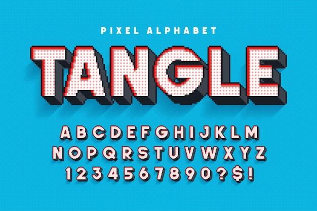 Дизайн пиксельного алфавита стилизован под 8-битные игры высококонтрастный ретрофутуристический легкий контроль цвета образцов