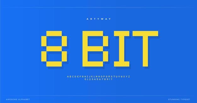 Пиксельный алфавит в стиле ретро с битовым шрифтом для ретро-видеоигры, цифровой логотип, пиксельные надписи и
