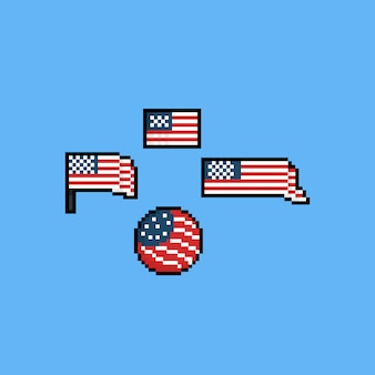 Pixel america flag set. independence day.