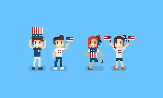 Pixel american character. 8bit. 4th of independence day.