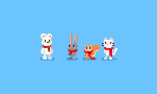 Pixel animal with red scarf