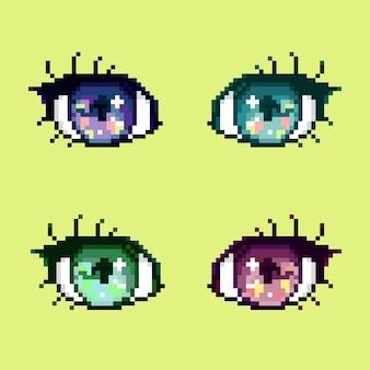 レトロゲームデザインのピクセルアニメカラフルな目