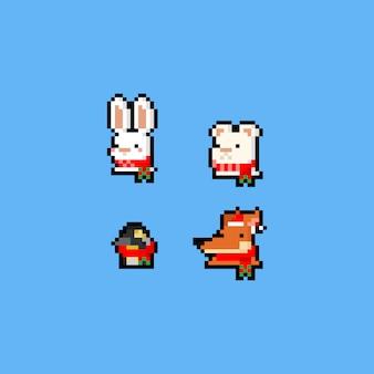 Pixel art 8bit christmas animal icon set.