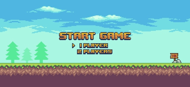Pixel art 8bit game home screen landscape game background with grass trees and clouds