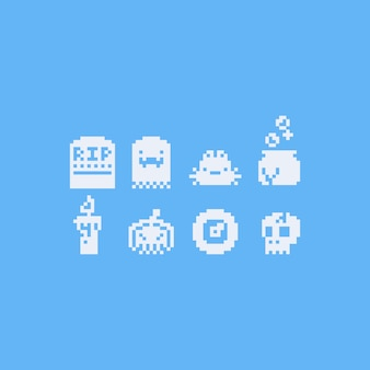 Pixel art 8bit halloween icon set