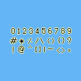 Pixel art 8bit numbers set.
