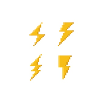 Pixel art 8bit thunder icon set.
