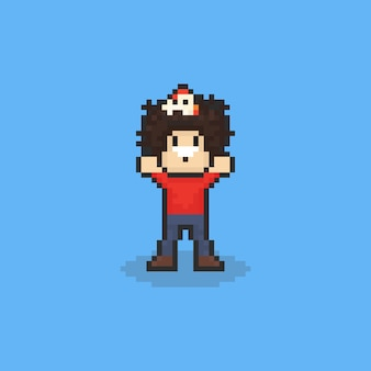 Pixel art afro man with chicken on the head.  8bit.