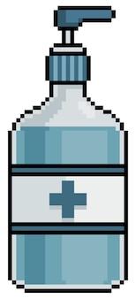 白い背景の上のコロナウイルスビットゲームアイテムに対するピクセルアートアルコールゲル保護