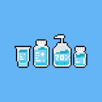Pixel art alcohol icon set.