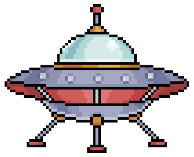 Pixel art alien spaceship item for bit game on white background