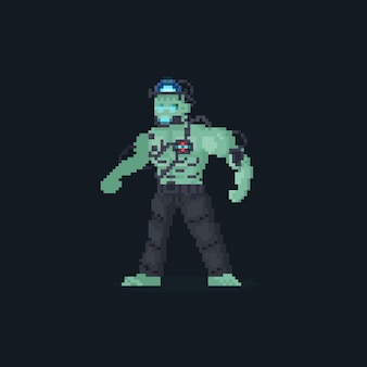 Пиксель арт андроид франкенштейн персонаж