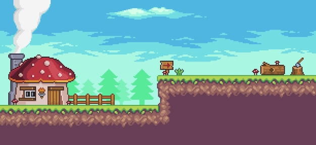 Пиксельный сценарий аркадной игры с домом, деревьями, забором и облаками.