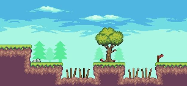 木、とげ、雲、石、旗のある8ビットのピクセルアートアーケードゲームシーン