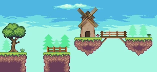 Пиксельная сцена аркадной игры с плавающей платформой, мельница, мост, деревья, забор, облака, 8 бит