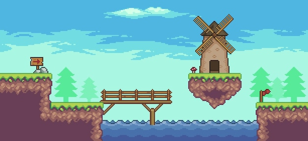 Pixel art arcade game scene with floating platform mill river bridge trees fence and clouds 8bit