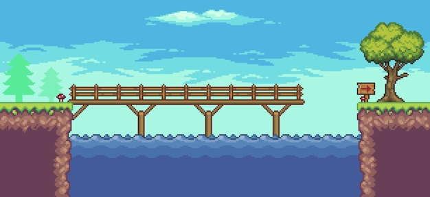 Pixel art arcade game scene with floating platform river bridge trees fence and clouds 8bit
