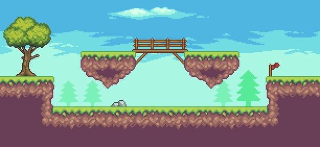 Пиксельная сцена аркадной игры с плавающей платформой, деревьями, мостом и облаками, 8-битный фон
