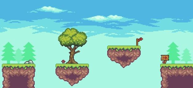 Пиксельная сцена аркадной игры с плавающими платформами, деревьями, облаками и 8-битным флагом