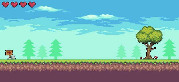Пиксельная аркадная игровая сцена с доской с деревьями и облаками, 8-битный фон