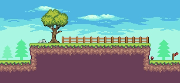 Pixel art arcade game scene with trees fence flag and clouds 8bit background