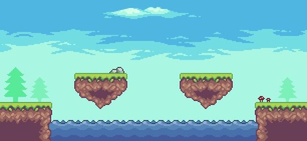 Пиксельная сцена аркадной игры с деревьями, плавающей платформой, озером и облаками