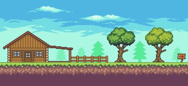 Пиксельная сцена аркадной игры с деревянным домом, деревьями, забором и облаками, 8-битный фон