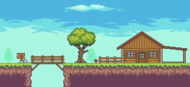 Пиксельная сцена аркадной игры с деревянным домом, деревьями, забором, мостом и облаками, 8-битный фон