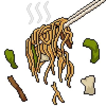Pixel art of asian noodle chopstick
