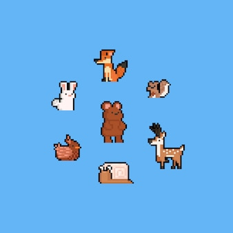 Pixel art autumn cartoon animal set.8bit.