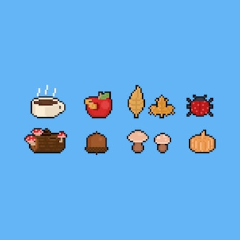 Pixel art autumn icon set. 8bit.