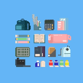 Pixel art back to school accessories set.8bit.