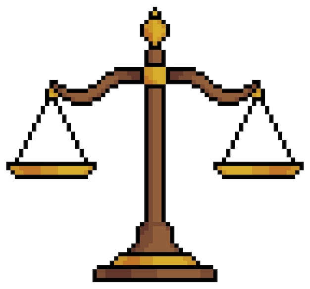 Pixel art balance scales symbol justice item for 8bit game on white background