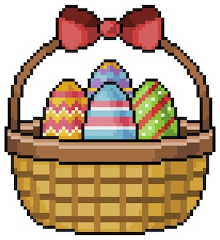 Пиксельная корзина с пасхальными яйцами на белом фоне