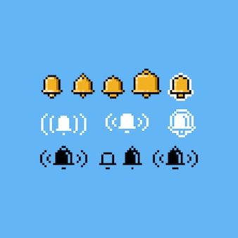 Pixel art bell icon set.