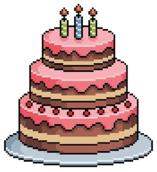 Pixel art birthday cake bit game item on white background