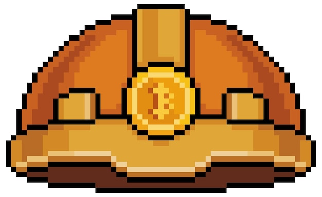 Значок шлема биткойн-майнера пиксель-арт для 8-битной игры на белом фоне