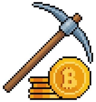 Пиксель-арт майнинг биткойнов с киркой значок инвестиций в криптовалюты для 8-битной игры на белом ба