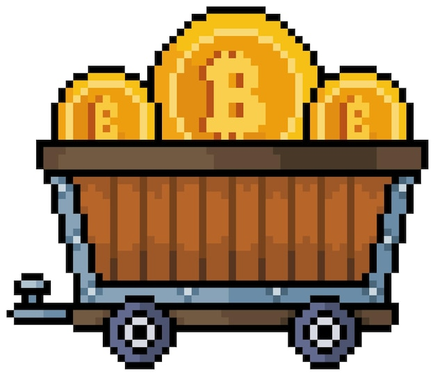 Pixel art bitcoin ore cart cryptocurrency mining 8bit game icon on white background