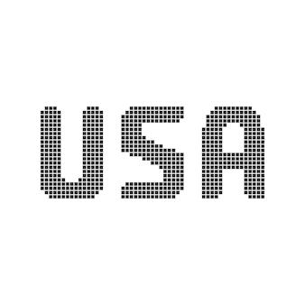 Пиксель арт черный текст сша. концепция элемента алфавита, путешествия, группа аббревиатуры, символическая, заглавная. плоский стиль тренд современный логотип графический 8-битный дизайн векторные иллюстрации на белом фоне