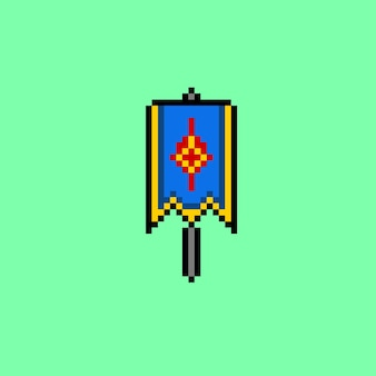 Pixel art of blue festive banner vertical flag with flagpole